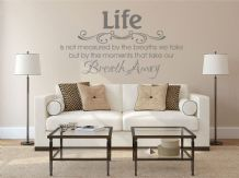 "Vinyl Wall Quote ""Life Is Not Measured.."" Modern Wall Sticker, Decal, Transfer"